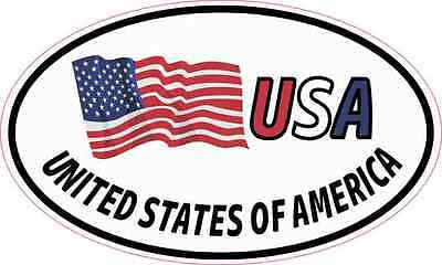 5X3 Oval USA United States of America Flag Sticker Vinyl Vehicle Flag Car Decal