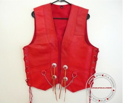 Men's Red Leather Motorcycle Biker Vest Concho Style S To 6XL Custom L-304R