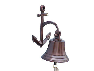 "Copper Finish Solid Aluminum Ship's Bell 5"" w/ Anchor Bracket Hanging Wall Decor"