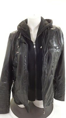 Super Cute Women's Black Soft Faux Leather Hooded Jacket Size L