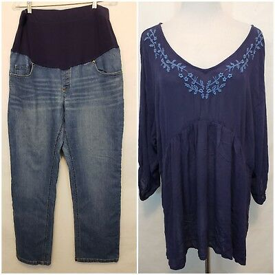Womens  Maternity Lot 2 pc. Maternity Blue Jeans 16/18P Petite Blue RayonTop XL