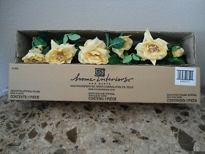 """Home Interiors HOMCO Yellow Rose Flower Swag 20"""" Wall Decor"""