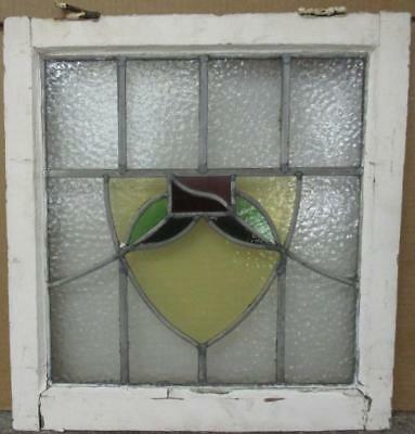 "OLD ENGLISH LEADED STAINED GLASS WINDOW Pretty Floral Shield 19.25"" x 20.25"""