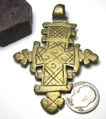 RARE LARGE AMAZING OLD SOLID BRASS ETHIOPIAN CROSS ANTIQUE PENDANT 47mm x 68mm