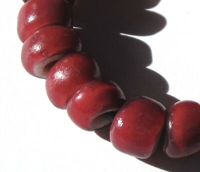 "20 Rare Stunning Cranberry Red Venetian White Heart ""Burma"" Antique Beads"