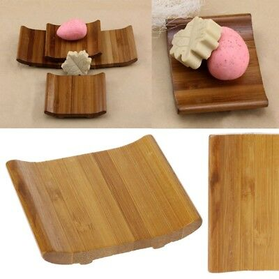 Natural Bamboo Soap Holder Dish Bathroom Shower Plate Stand Storage Box Rack