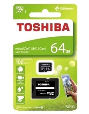 64GB TOSHIBA MICRO SDXC UHS-I MEMORY CARD 100MB/S CLASS 10 with adapter