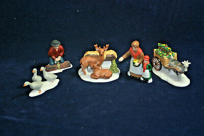 FARM PEOPLE AND ANIMALS  set of 5 The Heritage Village Collection Dept. 56