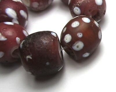 """7 Rare Amaing Old Cranberry Venetian """"skunk"""" Eye Antique Beads African Trade *"""