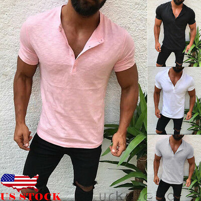 US Men Slim Fit V Neck Short Sleeve Muscle Tee T-shirt Casual Tops Henley Shirts