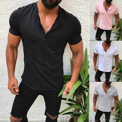 Men Slim Fit V Neck Short Sleeve Muscle Tee T-shirt Casual Tops Henley Shirts