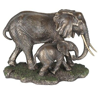 """Elephant and Calf - Bronze Collectible Figurine Miniature 15.5""""L New in box"""