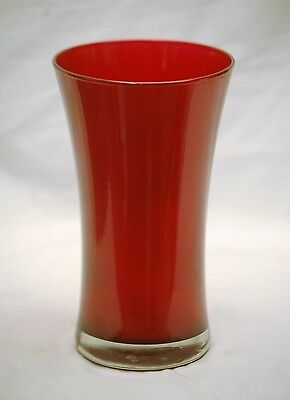 """Vintage Style Ruby Red Round Tapered Glass Vase w Flared Top Large 9"""" Tall"""