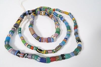 Alte Mix Glasperlen H6 Old Venetian African trade striped Chevron beads Afrozip