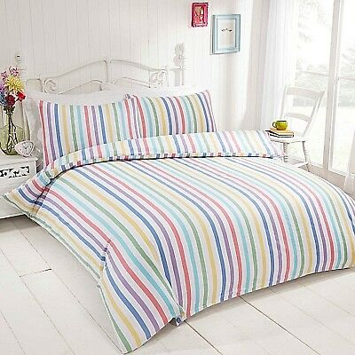 Candy Stripe Super Soft Brushed Cotton Flannelette Bedding Quilt Duvet Set