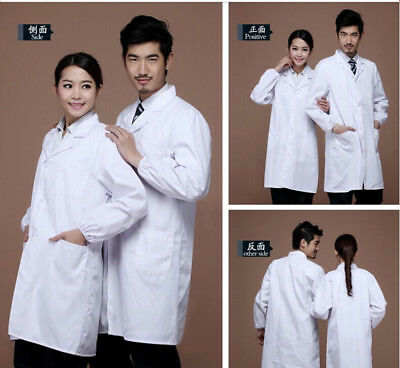 Unisex Medical White Lab Coat Hospital Scientist School Uniforms Dress Costume