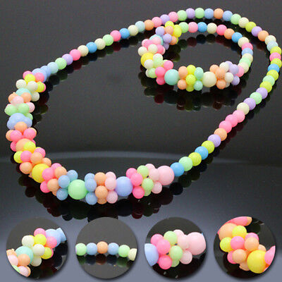 Children Cute Candy Colors Bracelet Set Baby Fashion Necklace Bubblegum Lovely