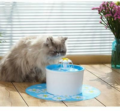 Flower Automatic Electric Pet Cat Dog Water Drinking Fountain Bowl Filter 1.6L z