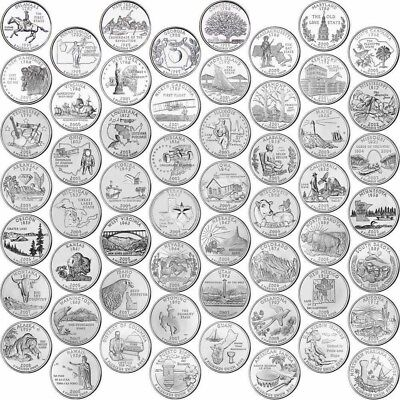 Usa Us Statehood Quarter Completed Set 50 State Coins Unc