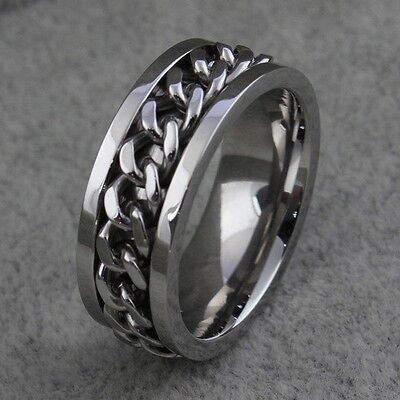 Unisex 316L Eternity Titanium Stainless Steel Men Chain Ring For Women and Men