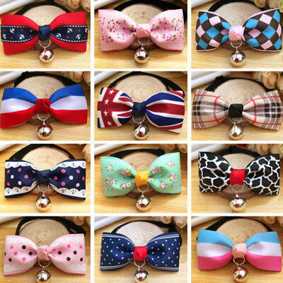 Fashion Cute Dog Cat Pet Cute Bow Tie With Bell Adjustable Puppy Necktie Collar