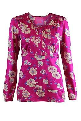 Womens Ex Mantaray Vibrant Pink Floral Print Jersey Pintuck Button Top  Casual