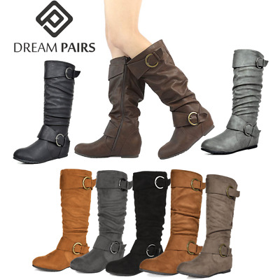 DREAM PAIRS Womens Suede Slouchy Block Heel Faux Fur Knee High Winter Boots 5-11