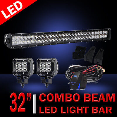 """32Inch LED Light Bar Combo + 2X 4"""" PODS CUBE For OFFROAD SUV ATV FORD JEEP 30"""""""
