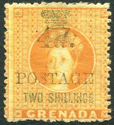 GRENADA-1888-91 4d on 2/-  Orange Sg 42 MOUNTED MINT V25477