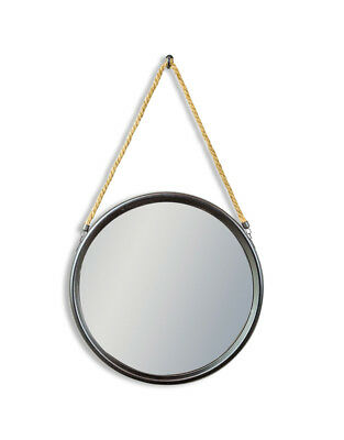 Round Antique Black Metal Mirror On Hanging Rope With Hook