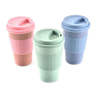 Solid Color Wheat Straw Coffee Cup Mug Tumbler With Lid Insulated Cups LG