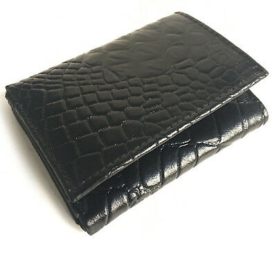 Black Leather Mens Trifold Wallet Croc Print Credit Card ID Holder Cowhide