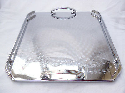 POLISHED ART DECO SERVING TRAY by Ranleigh Australia 34.5cm square (larger size)