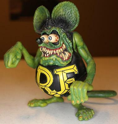 """1999 Rat Fink Ed Roth Rare 5"""" Action Figure Black Yellow Poseable Legs Arms Tail"""