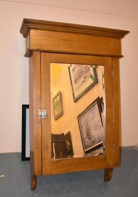Huge Antique Vintage Wall Medicine Cabinet Primitive Display Mirrored Cupboard