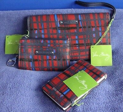 Lot/3 VERA BRADLEY Lrg Zip Around Wallet Clutch Coin Purse Memo Navy ART PLAID