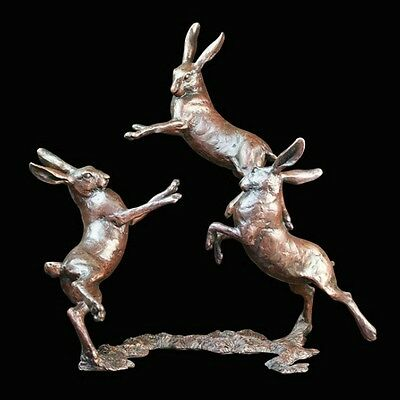 Medium Hares Playing Solid Bronze Foundry Cast Sculpture Michael Simpson [800]