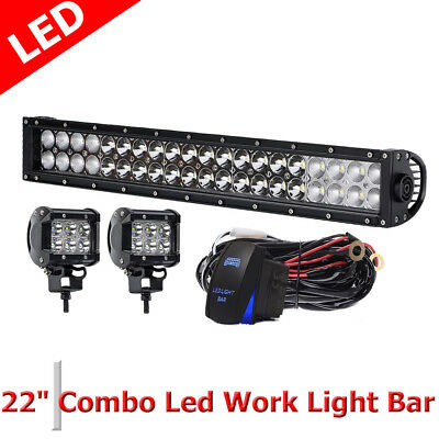 """22'' 120W LED Work Light Bar for Offroad Boat Lamp Spot Flood FREE 2X 4"""" 18W"""