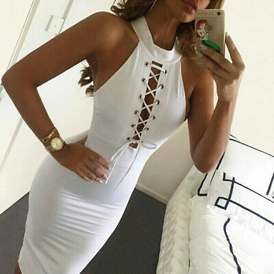 Women Halter Strapless White Sexy Chest Cross Bandage Hollow-out Slim Dress LG