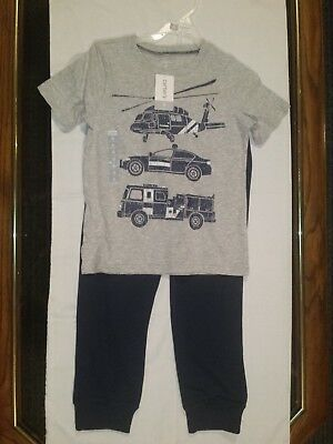 NWT Carters Boys 2pc Emergency Vehicle Themed Top and Pants Set