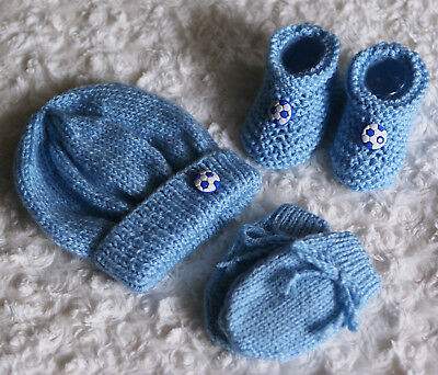 Hand Knitted Football Blue Baby Hat, Booties and Mittens - 0-3 months