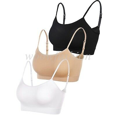 Women Mini Camisole Crop Top Wirefree Bra Padded Strap Cami Yoga Bra Tops Plus