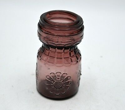 Vintage Wheaton Amethyst/Purple Glass Jar - Sun Flower Leaf Snowflake 4 Seasons