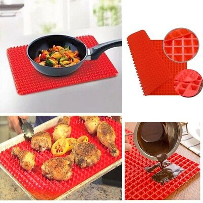 Pyramid Pan Non Stick Silicone Cooking Mat Fat Reducing  Oven Baking Tray Sheets