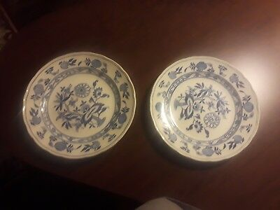 "Two Grindley Hotel Ware Blue Onion Meissen England 9"" Plates"