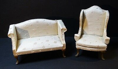 SUPER Signed Susan Hoeltge Silk Couch & Chair Dollhouse Miniature Furniture 1987