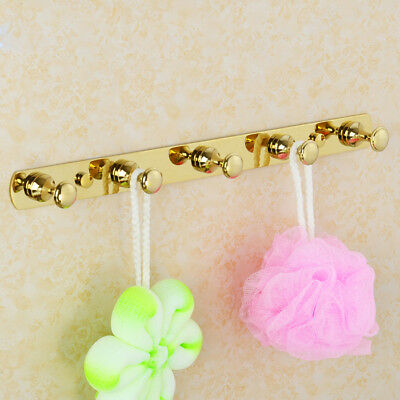 Brass Bathroom Accessory Wall Mount 5 Hooks Hanger Hand Towel Clothes Holder R47