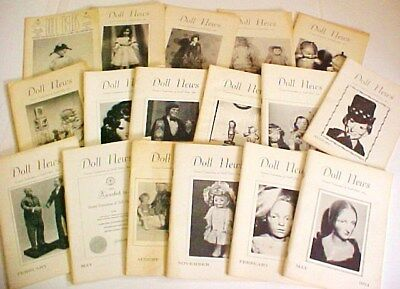 Lot of 17 Vintage DOLL NEWS United Federation of Doll Clubs magazine 1970s