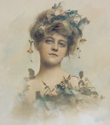 Antique Art Nouveau Tinted Print of Beautiful Woman with Flowers Ornate Frame