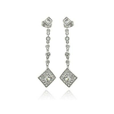 Womens Sterling Silver 925 Rhodium Plated Square Round CZ Dangling Stud Earrings